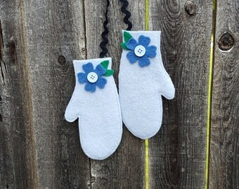 Rescued Wool Mitten Ornaments -Matching Pair in Light Blue Wool  - recycled wool by alicia todd - great for Dirty Santa Gift Exchange