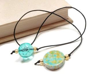 Aqua Gold Book Thong Beaded Bookmark Book Cord Book String Book Club Teacher Gift