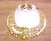 Vintage 4 Strand Necklace Clip Earring Set Blown Art Glass Beads Milk Glass Twist #A276 FREE SHIPPING