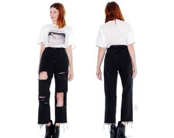 BLACK WRANGLERS High Waisted Jeans / womens large / wrangler jeans mom jeans ripped jeans distressed jeans black jeans boyfriend jeans