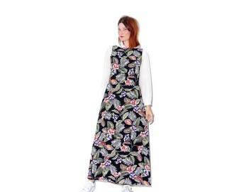 WTF HALF OFF Floral Maxi Dress sheath dress small medium / tropical floral print summer dress tank dress festival dress black dress minimali