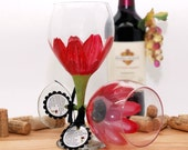 Engine Red daisy wine glass, Daisy,  hand painted wine glass, pastel flowers, personalized gifts, wine lover gift, floral decor, spring