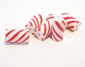 Peppermint Christmas Candy Tubes - Handmade Polymer Clay Beads