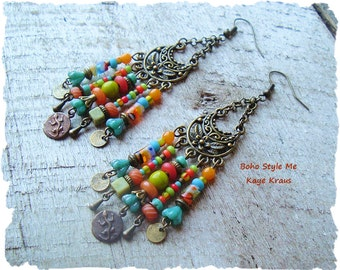 Colorful Bohemian Earrings, Boho Ethnic, Modern Hippie, Gypsy Nomad, Assemblage, Boho Style Me, Designs by Kaye Kraus