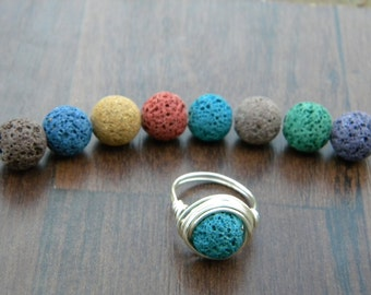 Custom Lava Stone Aromatherapy Diffuser Ring Wire Wrapped