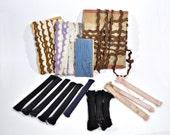 Antique Dress Trim Lot - German Scallop Embroidery - Cording - Ric Rac