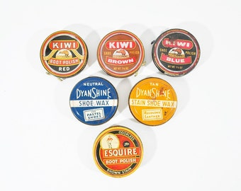 6 Vintage Shoe Polish Tins Kiwi, Dyan Shine and Esquire