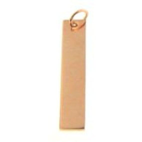 "5 - Stainless Steel Rose Gold Plated Pendant Tag 1.25"" x 0.25"" Polished 18 Gauge Thick with hole and jump ring long bar pendant"