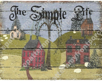 Saltbox  Art Print Download 8.5 X 11 and 8 X 10 , Primitive and Grungy