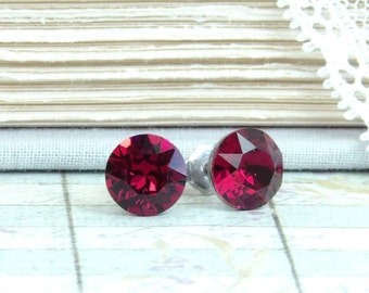 Ruby Crystal Studs 8mm Studs Ruby Stud Earrings Solitiare Earrings Surgical Steel Ruby Studs