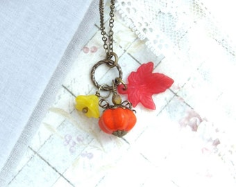 Pumpkin Charm Necklace Fall Leaf Necklace Pumpkin Jewelry Autumn Necklace Woodland Necklace