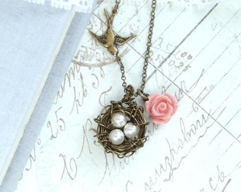 Moms Bird Nest Necklace Bird Nest Necklace Nature Necklace Nest Jewelry Pearl Nest Necklace