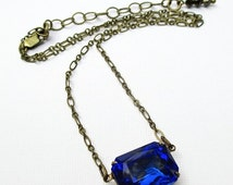 CIJ Sale 20% Off Sapphire Necklace - Art Deco Necklace - September Birthstone Gift - Bridesmaid Gift - Victorian Necklace - Jewelry - LANCAS