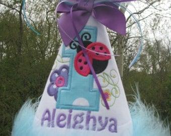 first birthday hat, smash cake hat,  ladybug birthday party hat,  any number free personalization made to match my ladybug birthday dress