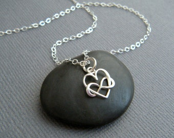 """tiny heart infinity necklace sterling silver small everyday pendant petite delicate dainty feminine infinite love charm. romantic gift 3/8"""""""