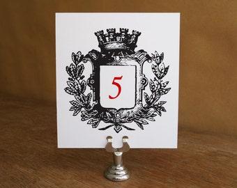 Printable Table Number - Table Number Template - Instant Download - Wedding Table Number PDF - Royal Crest - Vintage Crest - Coat of Arms