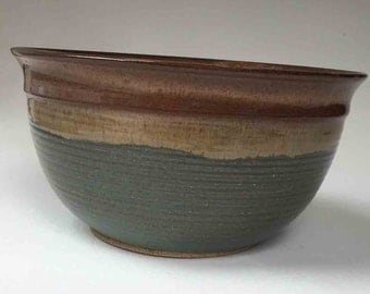 10 Cup Pasta Bowl, Gift Ideas for Her, Hostess and Gourmet, Bowls and Serving, Browns with Woodland Green, Salad or Fruit Bowl