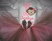 First Birthday Pink and Brown Monkey Tutu Set