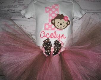 First Birthday Pink and Brown Monkey Tutu Set