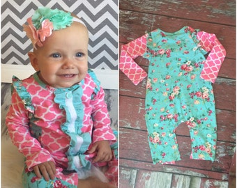 Cotton ruffle romper and floral headband. ...Ruffle romper..baby girl sleeper...romper... Hospital outfit
