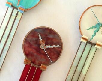 Glass Clock,   Geometric, Contemporary Handmade Clock, Teal,  Glass Wall Clock, Wedding Gift, Stained Glass, Custom Clock, Tiffany, Guy Gift
