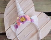 Unicorn Headband | White Horn | Purple Pink Mint Gold Accents