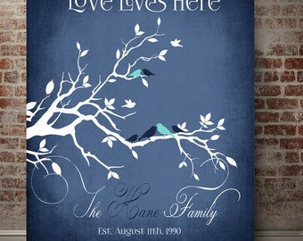 Family Tree Family Tree of life 50th anniversary gift for parents birds 40th anniversary custom parents gift tree branch living room art