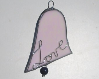 Love Bell Stained Glass Christmas Ornament or Suncatcher