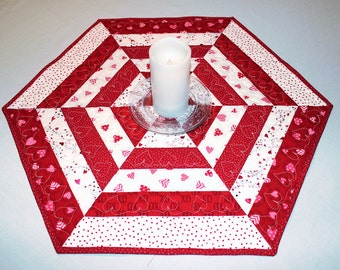 Red and White Quilted Table Runner, Hexagon Table Topper or Candle Mat, Hearts and Polka Dots, Wedding Decor, Valentine's Day Hexagon Topper