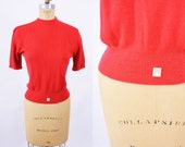1950s top vintage 50s red short sleeve crew neck acrylic NEW WITH TAGS sweater S