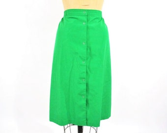 1980s skirt 80s vintage bright green snap buttons pencil S/M