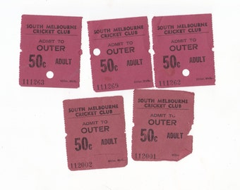 Lot of 5 x Vintage South Melbourne Cricket Club Tickets for Crafting or Collecting