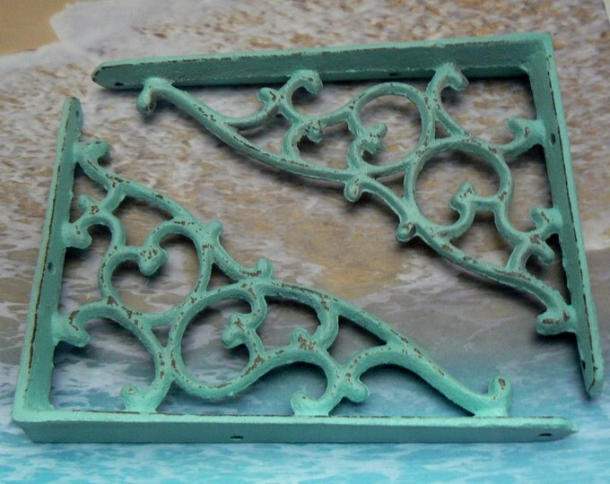 Shelf Bracket Cast Iron Vine Brace Shabby Chic Beach Blue DIY Home Improvement 1 Pair