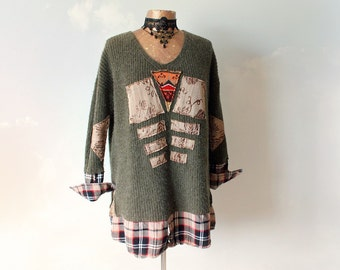 Cozy Green Sweater Women's Winter Top Art Clothing Upcycled Jumper Rustic Sweater Oversize Pullover Eco Conscious Boho Tunic M L 'LINDSAY