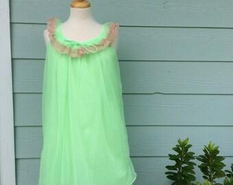 Vintage Nylon 1960s Lime Green Sleeveless Babydoll Lingerie Nightie