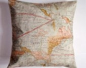 "Throw Pillow Cover, The Expedition Pillow Cover, Travel Lover Pillow, Adventure Maps Pillow, Cushion Cover, Tim Holtz Fabric, 16x16"" Square"
