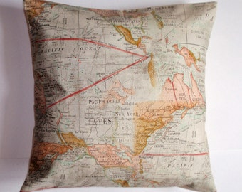 SUMMER SALE - Throw Pillow Cover, The Expedition Throw Pillow Cover, Travel Lovers Accent Pillow Cover, Adventure Maps Cushion Cover