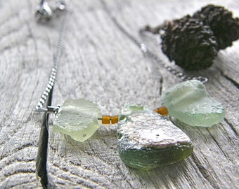 Antique Roman Glass Necklace, Green Recycled Upcycled Glass Pendant Necklace