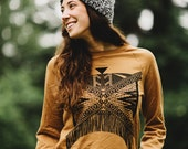 Xochitl || Hand Printed Fleece Sweatshirt, Camel and Black, unisex sweatshirt, raglan, pullover, clothing for camping || by Simka Sol