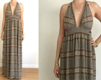 Vintage UPCYCLED Taupe Crochet Knit Copper Lurex Stripe Triangle Halter Boho Hippie Maxi Dress SM