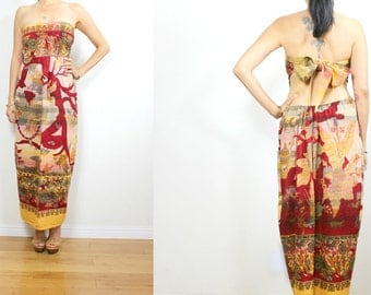Vtg Upcycled BOHO Mustard India Multi Ethnic Border Landscape Cotton Strapless Tie Low back FESTIVAL Maxi Dress S/M