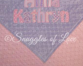 Minky Baby Blanket - Personalized Blanket - Light Pink and Lavender Blanket - Girls Pink and Purple Blanket - Appliqued Blanket, Monogrammed
