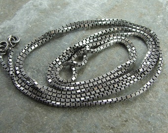 Artisan Oxidized Rustic Patina Sterling Silver 1.5 MM Box Chain - 30 Inch With Clasp - One Piece - bx1.530ox