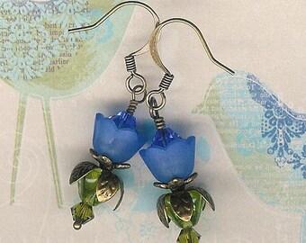 Royal Blue Lucite Flower Earrings, Crystal Swarvoski, Blue Flower Earring, Victorian, Antique Brass, Cobalt Blue Flower
