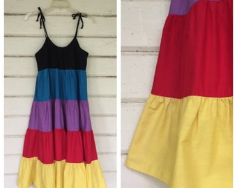 VINTAGE 1970s tiered RAINBOW sundress