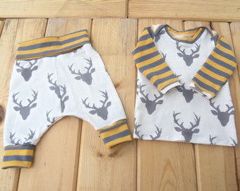Sized 0-6 months Buck Forest Harem Pants and Lap Tee Top