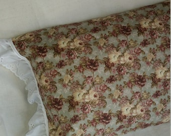 Small Calico Pillowcase with Eyelet Trim