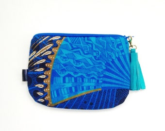 Blue African Print Pouch, Small Blue Bag, Summer Bag