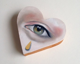 Lover's Eye Oil Painting on wooden heart Lowbrow Pop Art