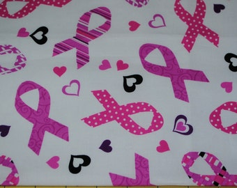 Fat Quarter Breast Cancer Awareness Patterned Pink and Purple Ribbons and Hearts on White Background
